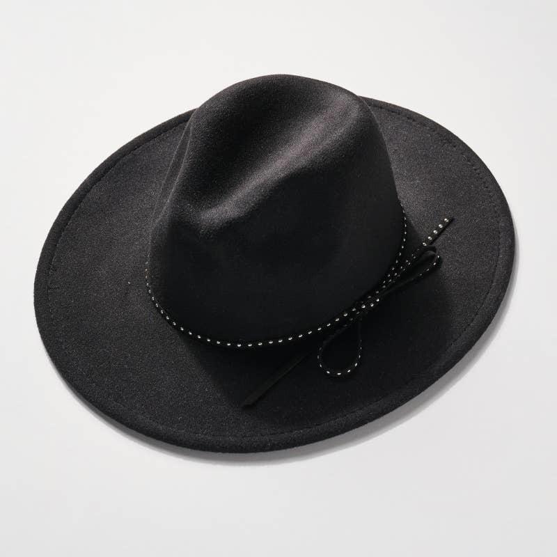 AVENUE ZOE PANAMA HAT BLACK WITH FELT BOW STRING