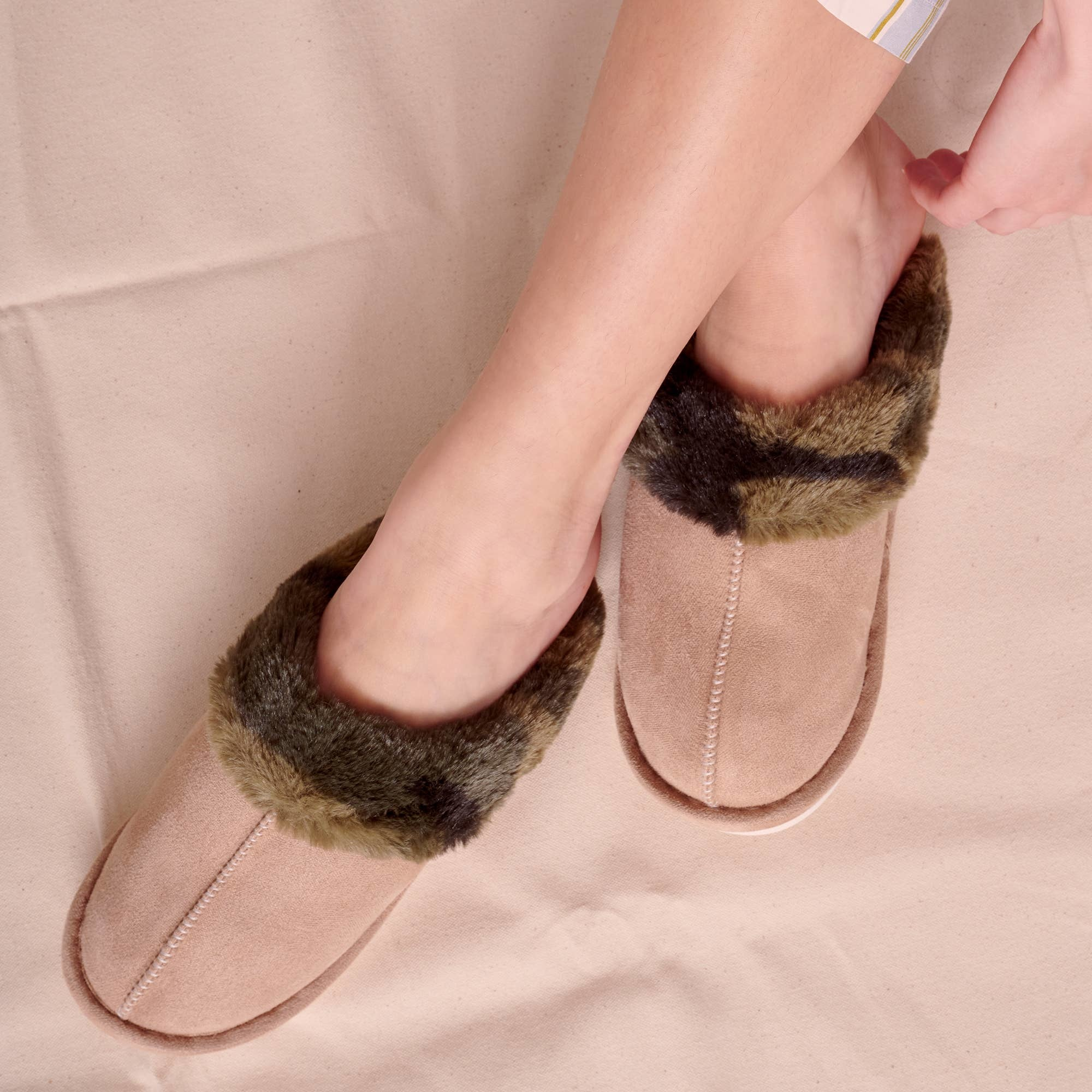 AVENUE ZOE FAUX SUEDE SLIPPERS WITH SOFT LINING