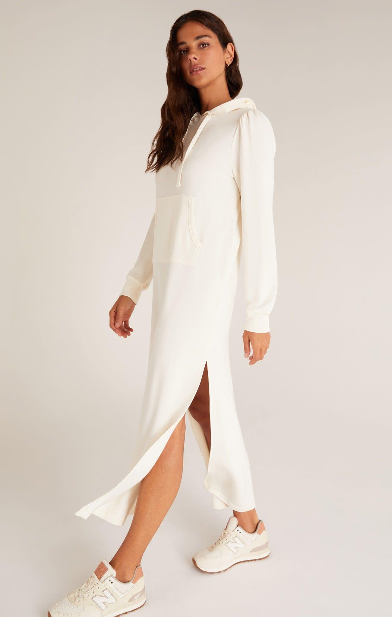 ZSUPPLY SOPHIA PULLOVER HOODIE DRESS - CLOUD DANCER