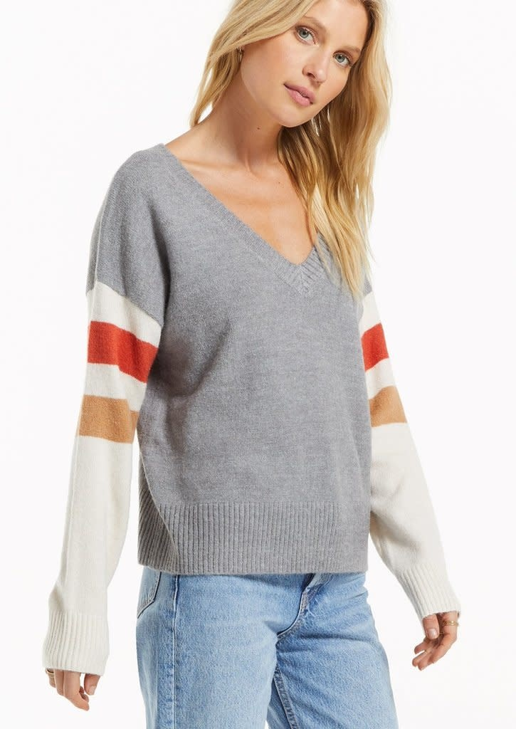 ZSUPPLY SPORTIF COLOR BLOCK SWEATER - HEATHER GREY