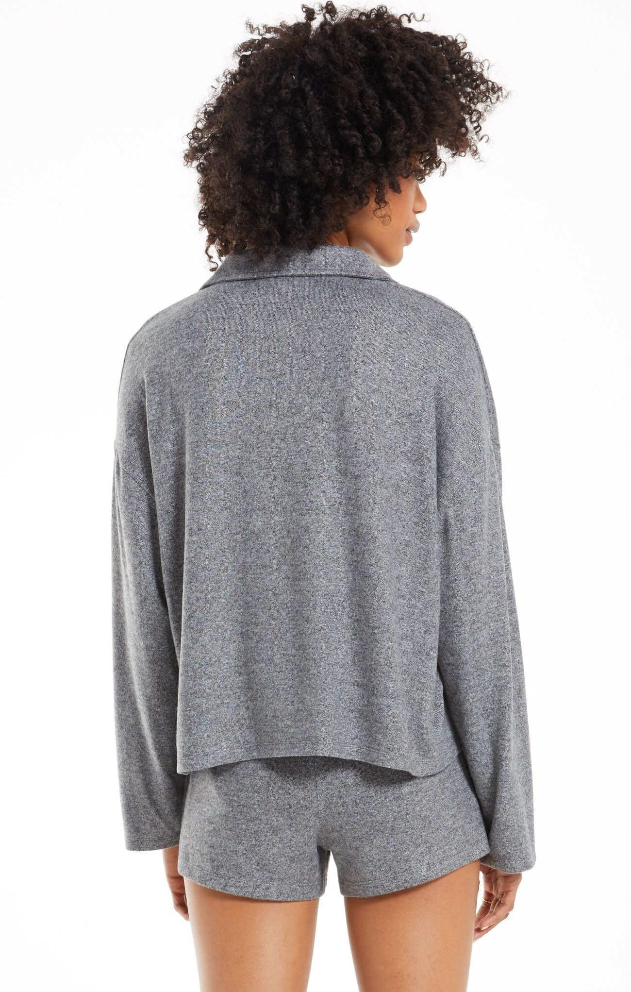ZSUPPLY GAME ON SILKY LONG SLEEVE TOP - HEATHER BLACK