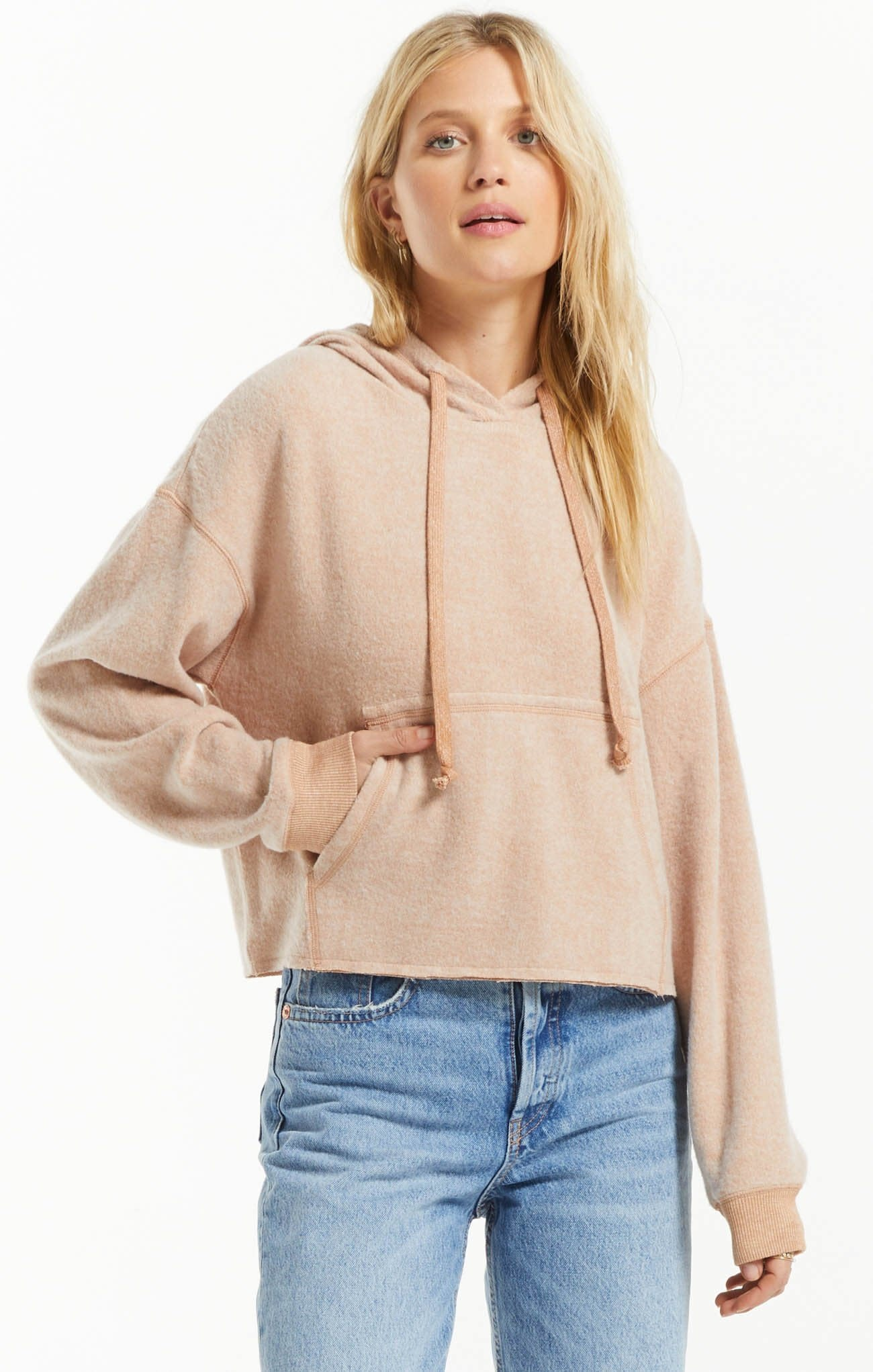 ZSUPPLY CHARLIE COZY KNIT HOODIE - DUSTY AMBER