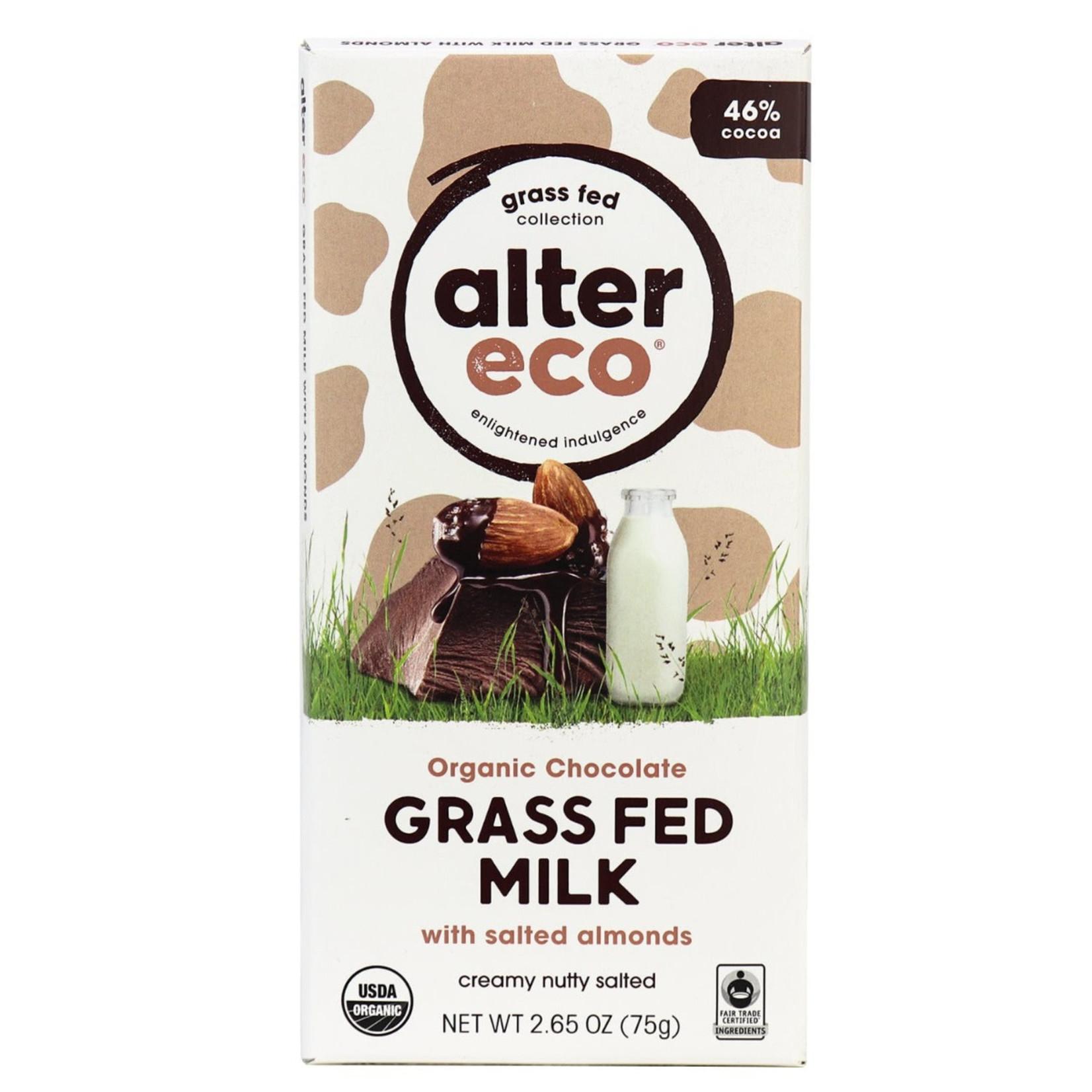 Alter Eco Alter Eco Grass Fed Milk Chocolate w/ Salted Almonds