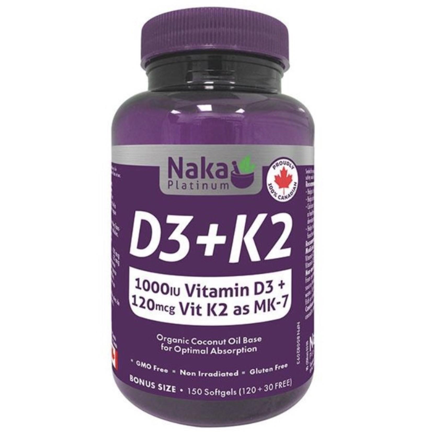 Naka Naka Vitamin D3+K2 150 softgels