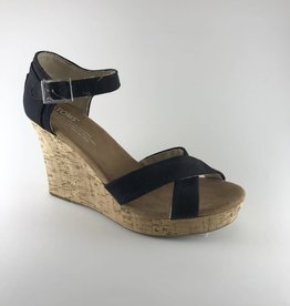 Toms Toms Black Canvas/Cork Wedge