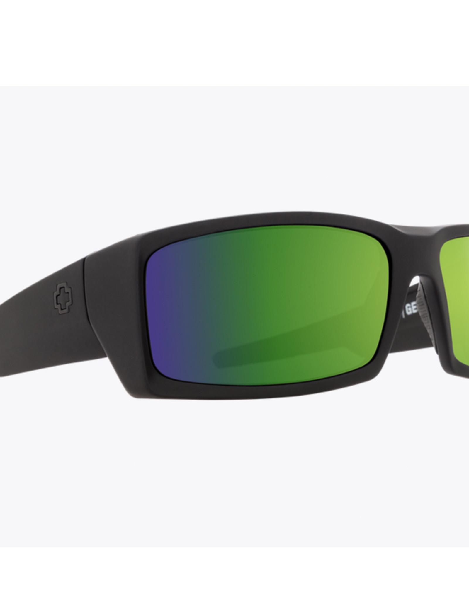 Spy General Soft Matte Black - Happy Bronze Polar With Green Spectra Mirror
