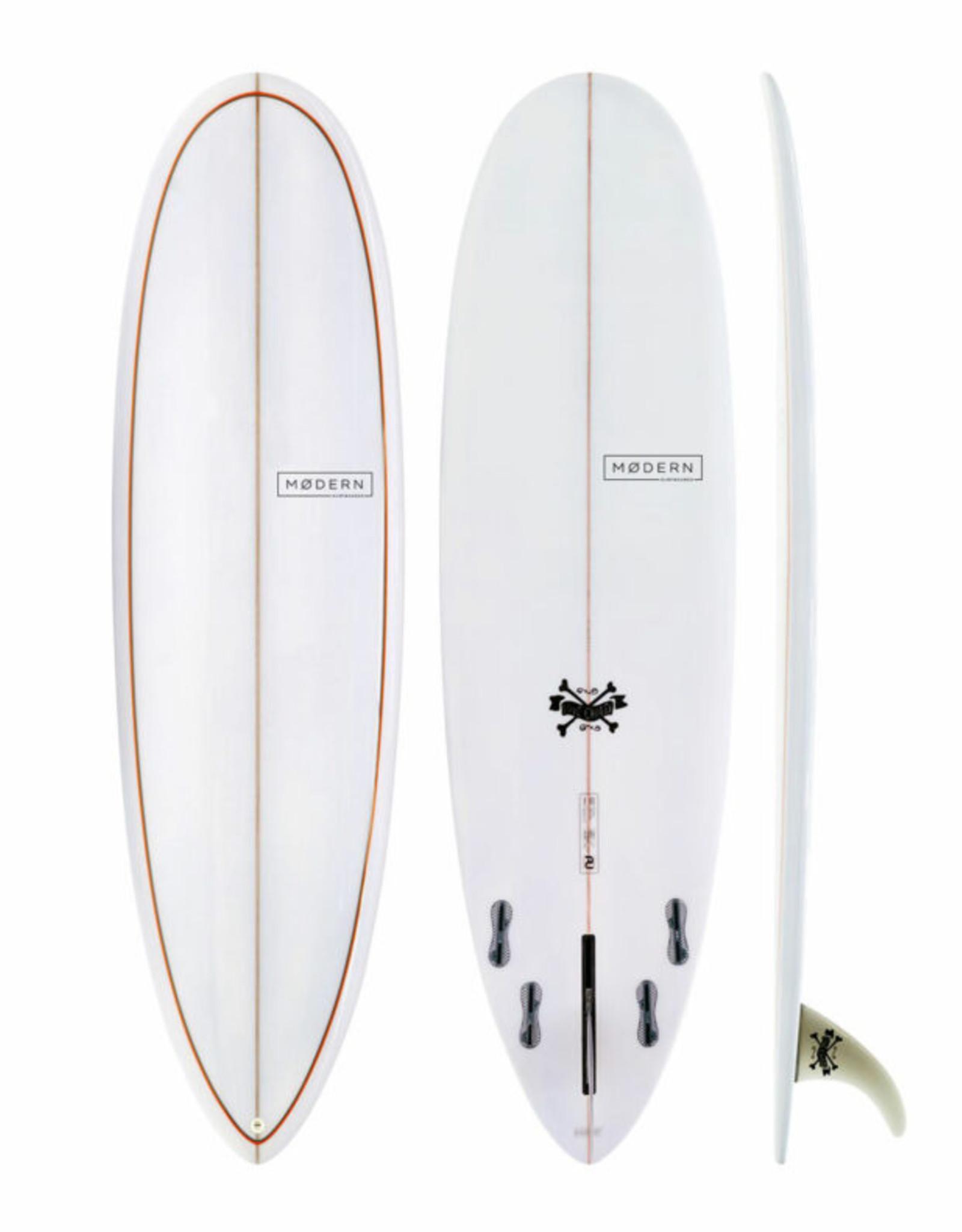 Modern Surfboards 8'0 Modern Love Child PU Grey Org Pinlines
