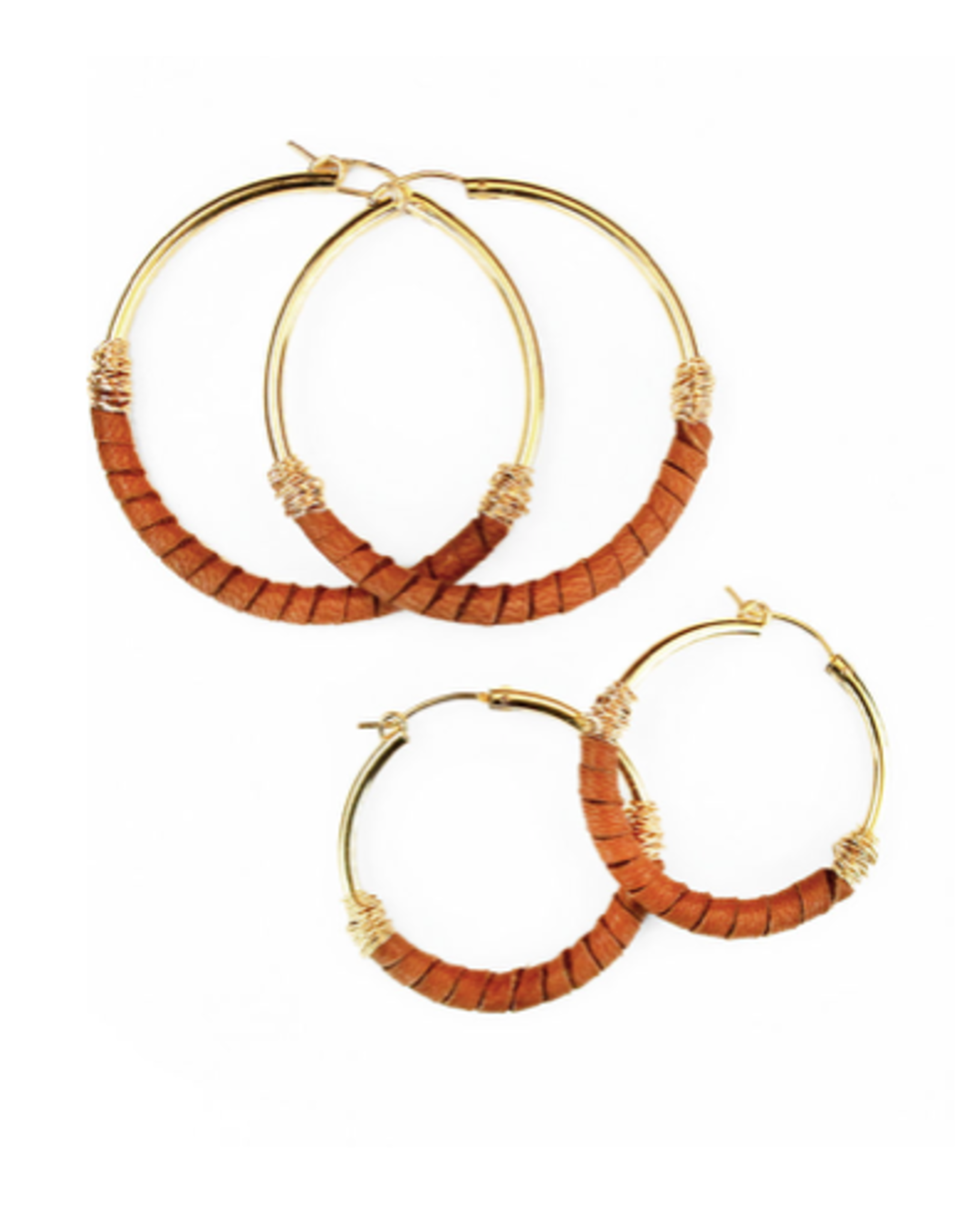 Bloom Jewelry Leather Wrapped Medium Hoops