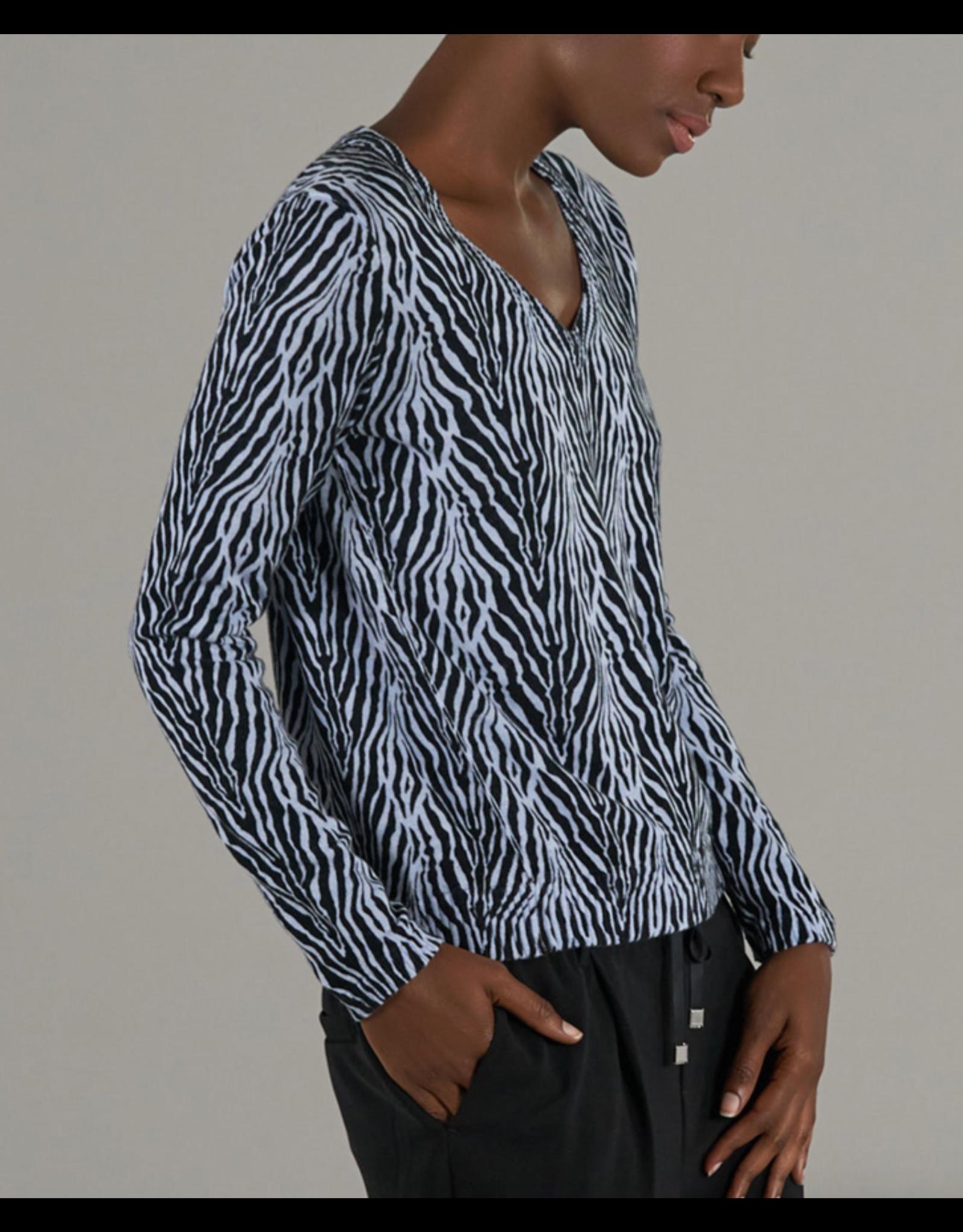 ATM Cotton Cashmere Zebra V-Neck
