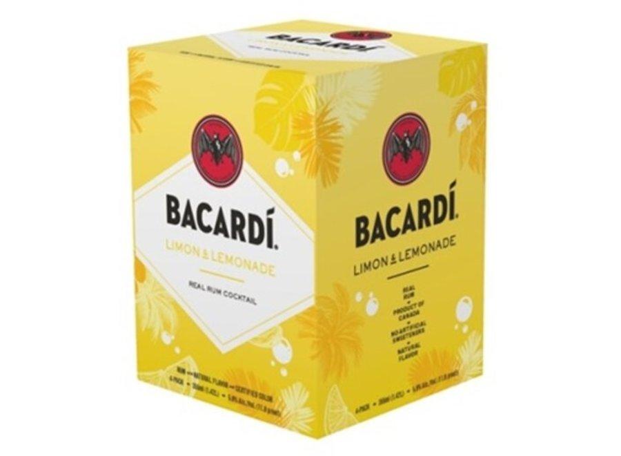 BACARDI LIMON LEMONADE SODA COCKTAIL 4PK/355ML CAN
