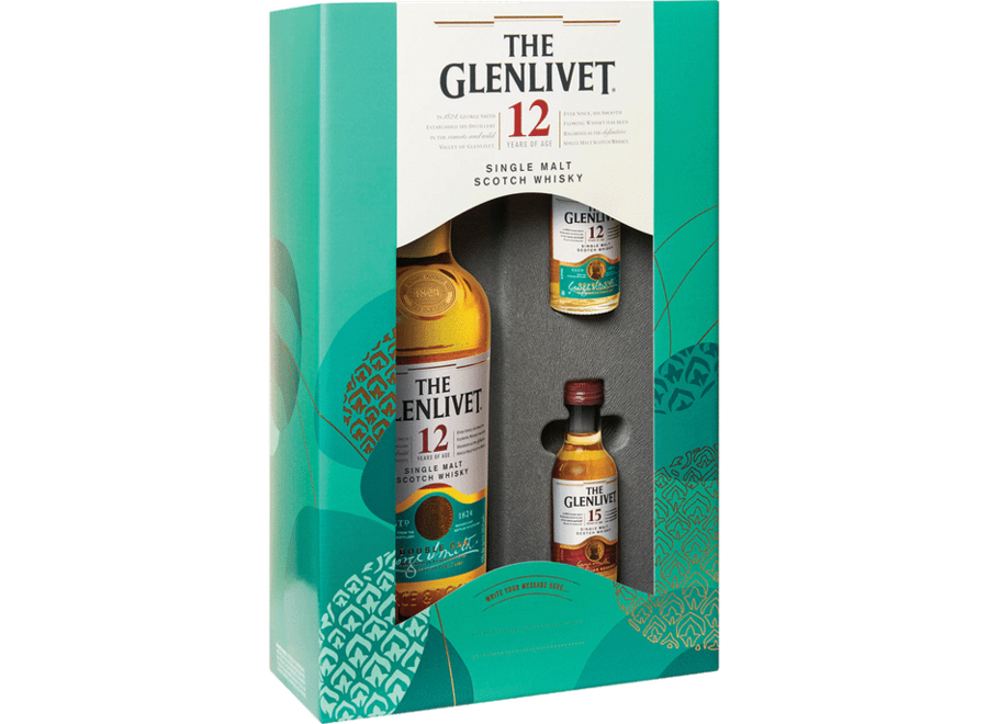 GLENLIVET 12YR SCOTCH WHISKEY 750ML W/14YR & 15YR 50ML PACK