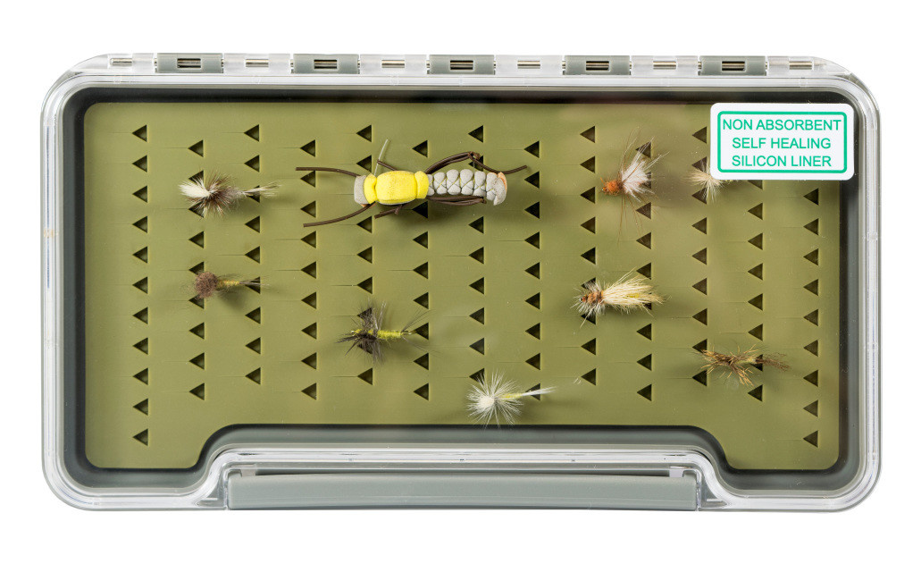 "South Fork/New Phase Fish Tales Silicon slim Fly Box 7.35"" by 3.75"" by .6 with logo"