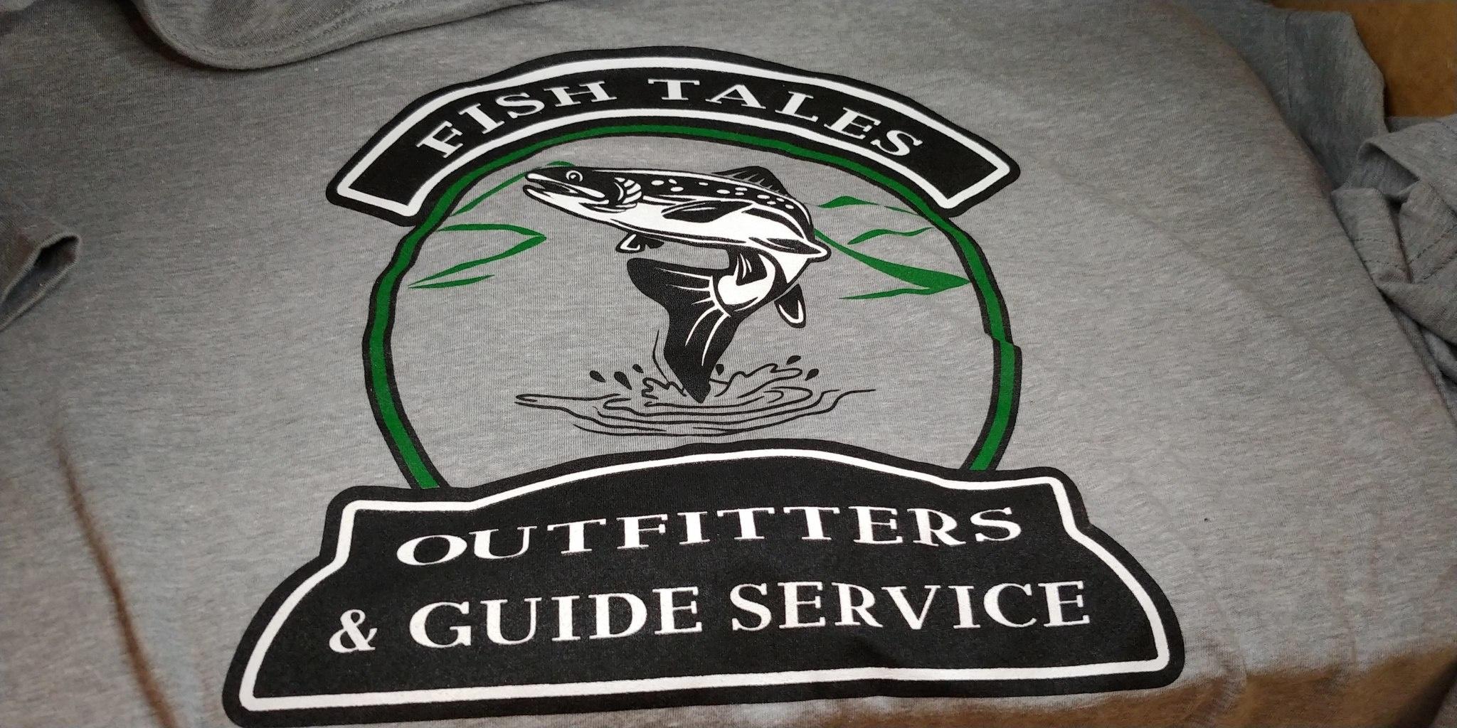 Next Level Apparel Fish Tales Logo Shirt - Gray with pocket Logo and Full logo on Back