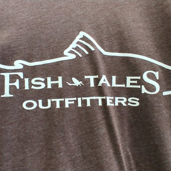 Next Level Apparel Fish Tales Logo Shirt - Expresso  with Full logo on front - No logo on back