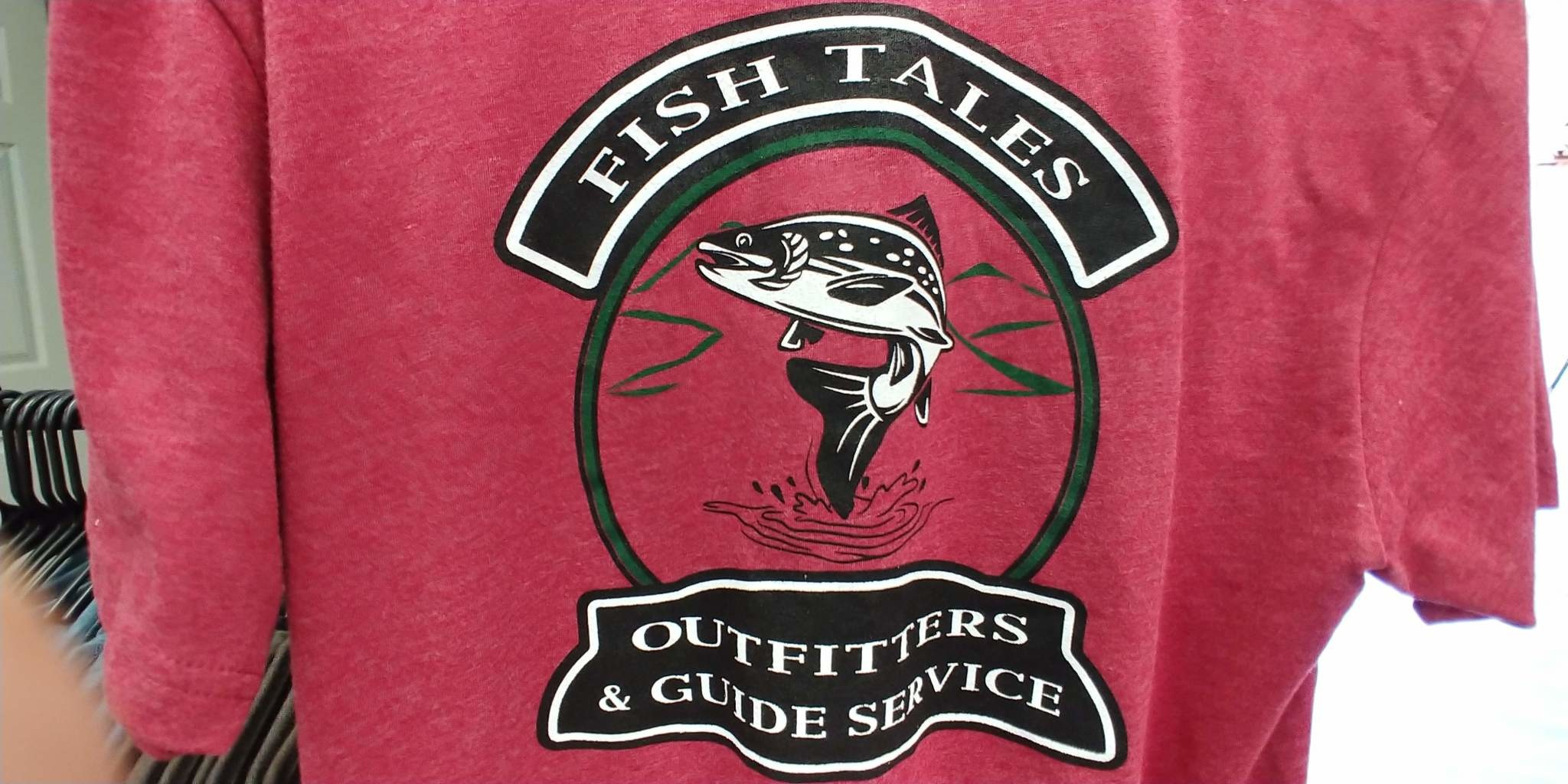 Next Level Apparel Fish Tales Logo Shirt - Maroon with pocket Logo and Full logo on Back