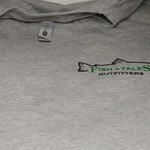 Next Level Apparel Fish Tales Logo Shirt - Gray with pocket Logo and Full logo on Back