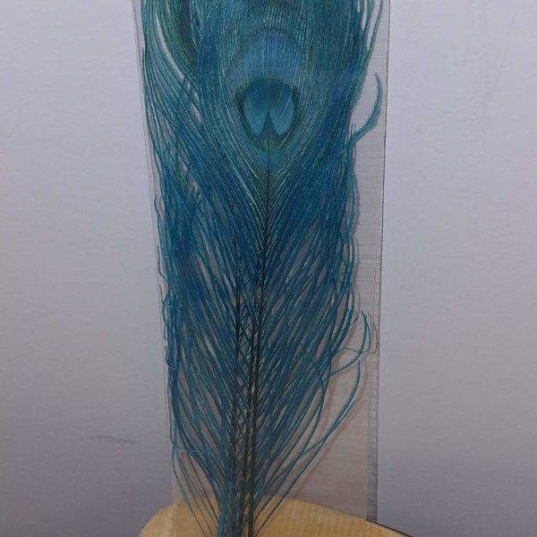 Natures Spirit BLEACHED & DYED PEACOCK STICKS - 4 sticks Fluorescent Blue