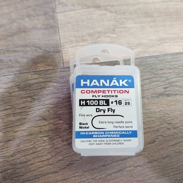Hanak HANAK COMP HOOK DRY FLY H 100 BL #16 25 PACK