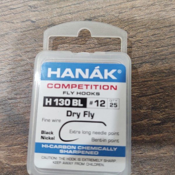 HANAK COMP HOOK DRY FLY H 130 BL #12  25 PACK