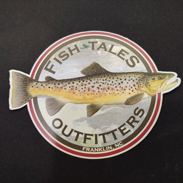 FISH TALES STICKER - LARGE ROUND