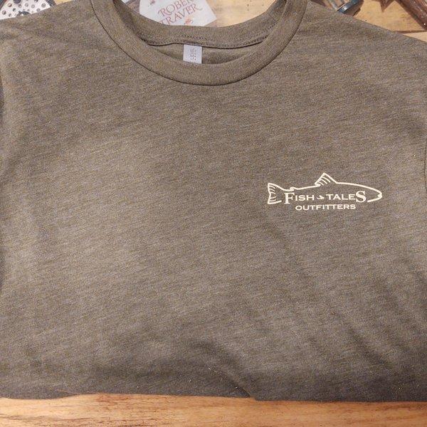 Fish Tales Fish Tales Shirt - Short Sleeve  - Front and Back Logo - Green