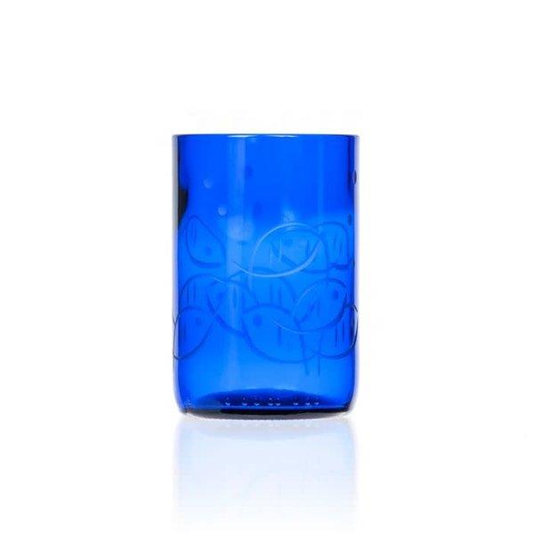 Rolf Glass Fly Fishing Blue Fish Tumbler 14 oz