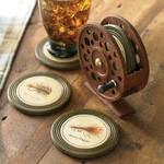 Black Forest Decor Fly Reel Coaster Set - 5 pcs