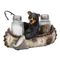 Black Forest Decor Bear Canoe Fishing Salt and Pepper Shakers