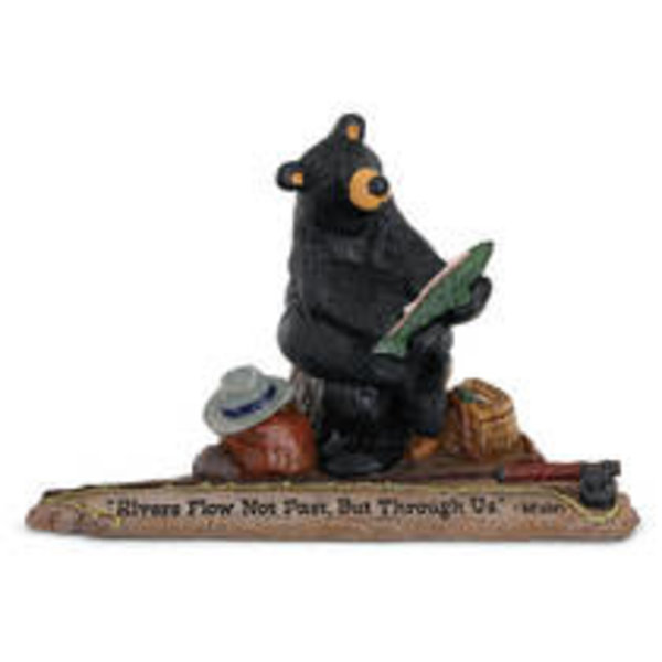 Black Forest Decor Wise Fishing Bear with Trout Rivers flow Not Past