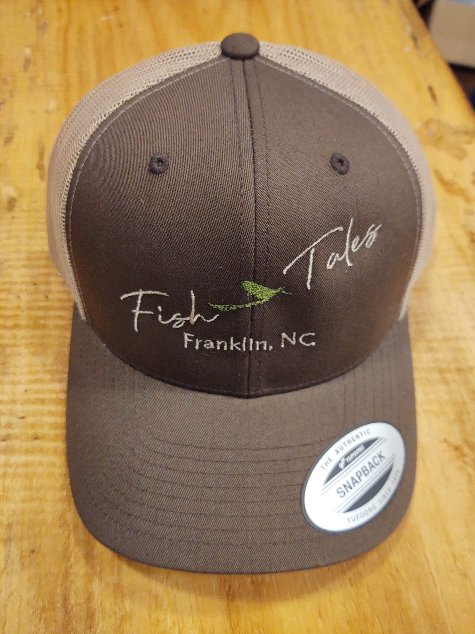 Sports Zone Fish Tales Baseball Hat  Slant logo-Brown/Lt Brown Mesh Snap Back