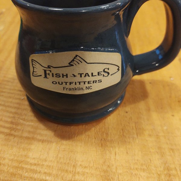 Sunset Hill Sunset Hill Handcrafted Potbelly Mug with Logo = Blue