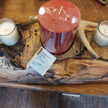 3 Light 1/2 Aspen Log Candle with Deer horns