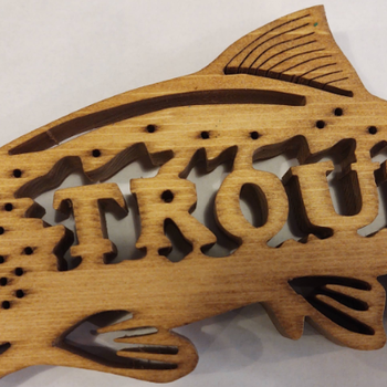 Kennys Trout  Wooden Sign Art
