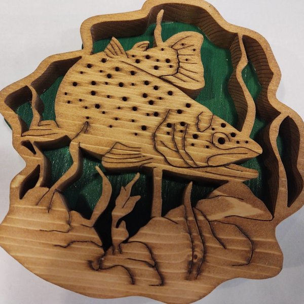 Kennys Trout  Wooden Swimming Sign Art