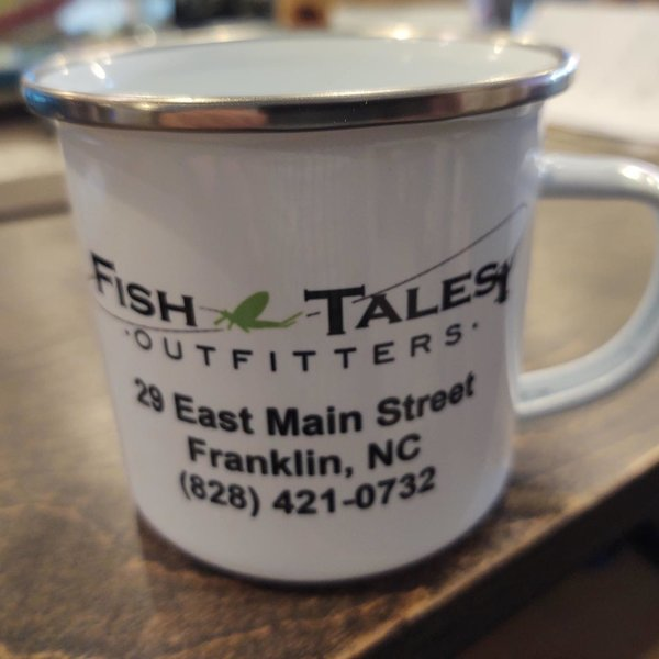 Fish Tales Outfitters Tin Coffee Cup with Logo