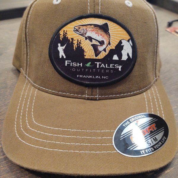 Fish Tales Hat  Tan with No Mesh -  Round Logo S/M