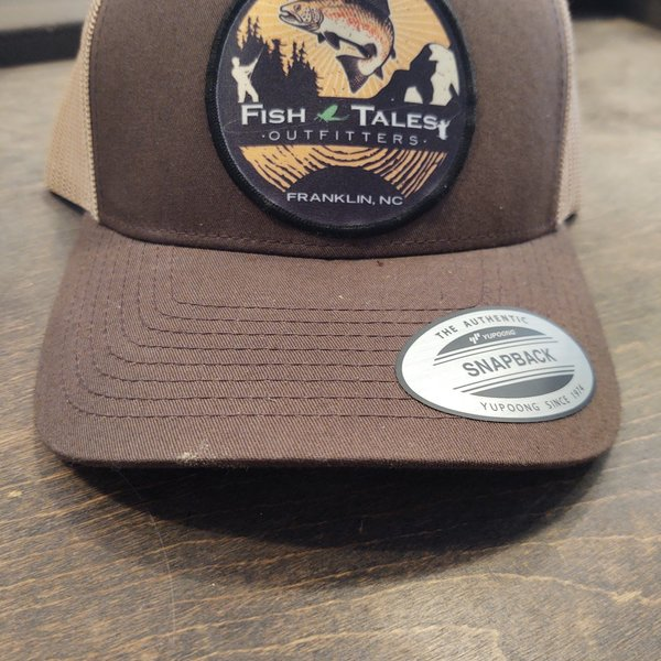 Yupong Fish Tales Hat Brown with Light Brown Mesh - Round Logo