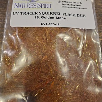 Natures Spirit UV TRACER SQUIRREL FLASH DUBBING - GOLDEN STONE