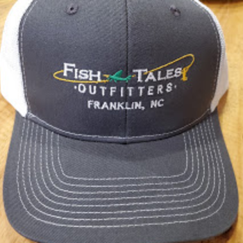 Queensboro Fish Tales Hat -Embroidered Trucker -  Grey Steel/White