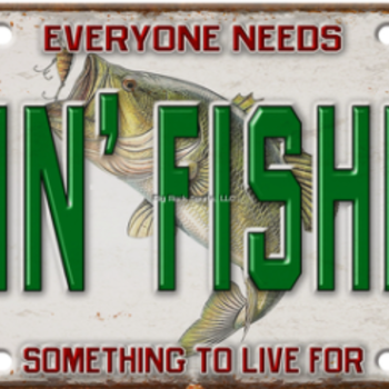 "Rivers Edge Vanity License Plate 'Goin Fishing' 12""x6"""