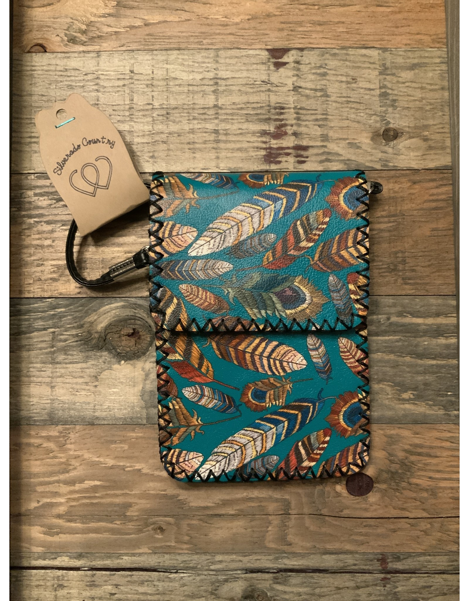 FEATHER PRINTED GREEN CROSSBODY