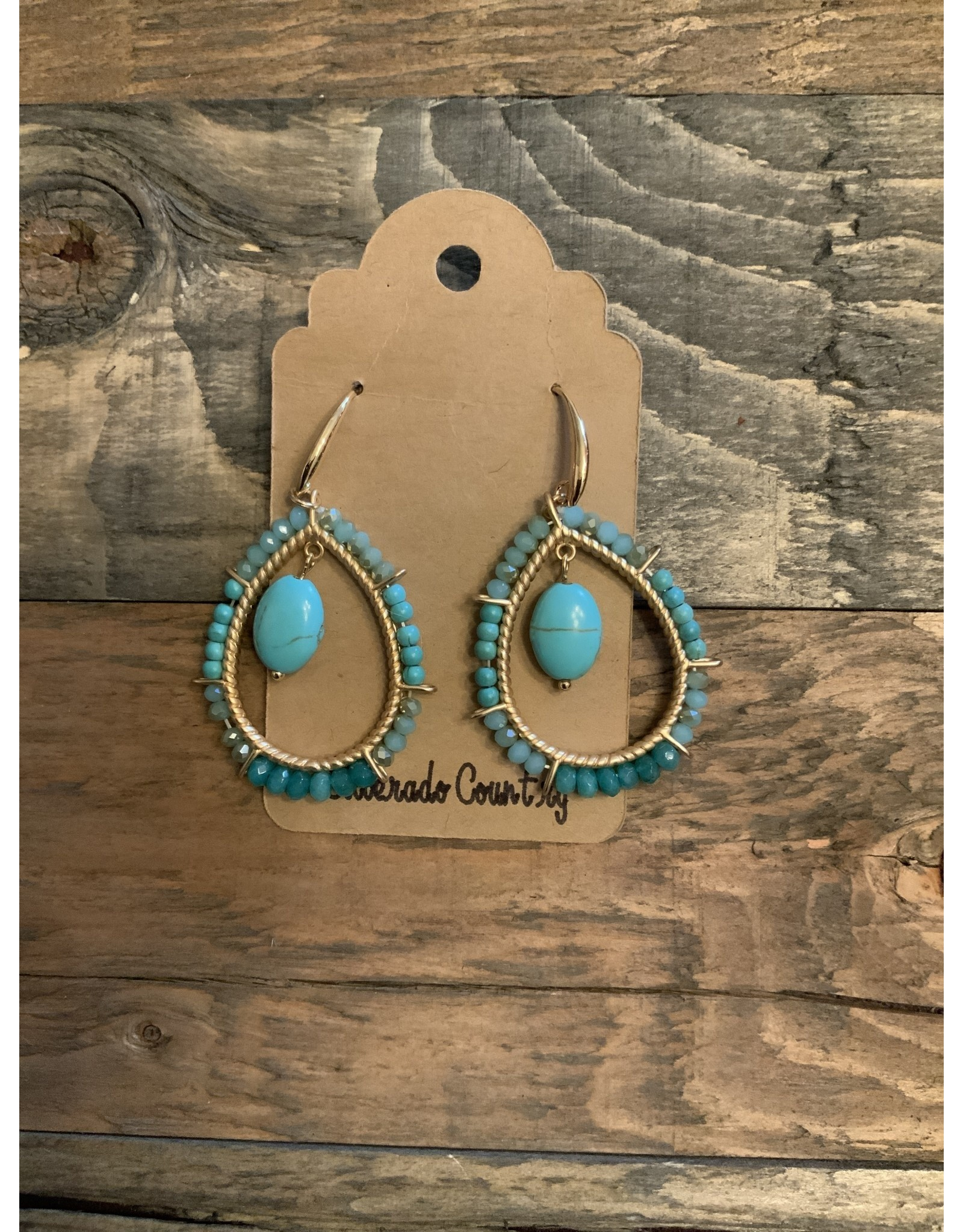 Gold Turquoise Dangle Earrings