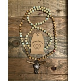 MALA BEAD NECKLACE  BROWN/BLING SKULL