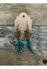 DREAM CATCHER FEATHER EARRINGS GOLD