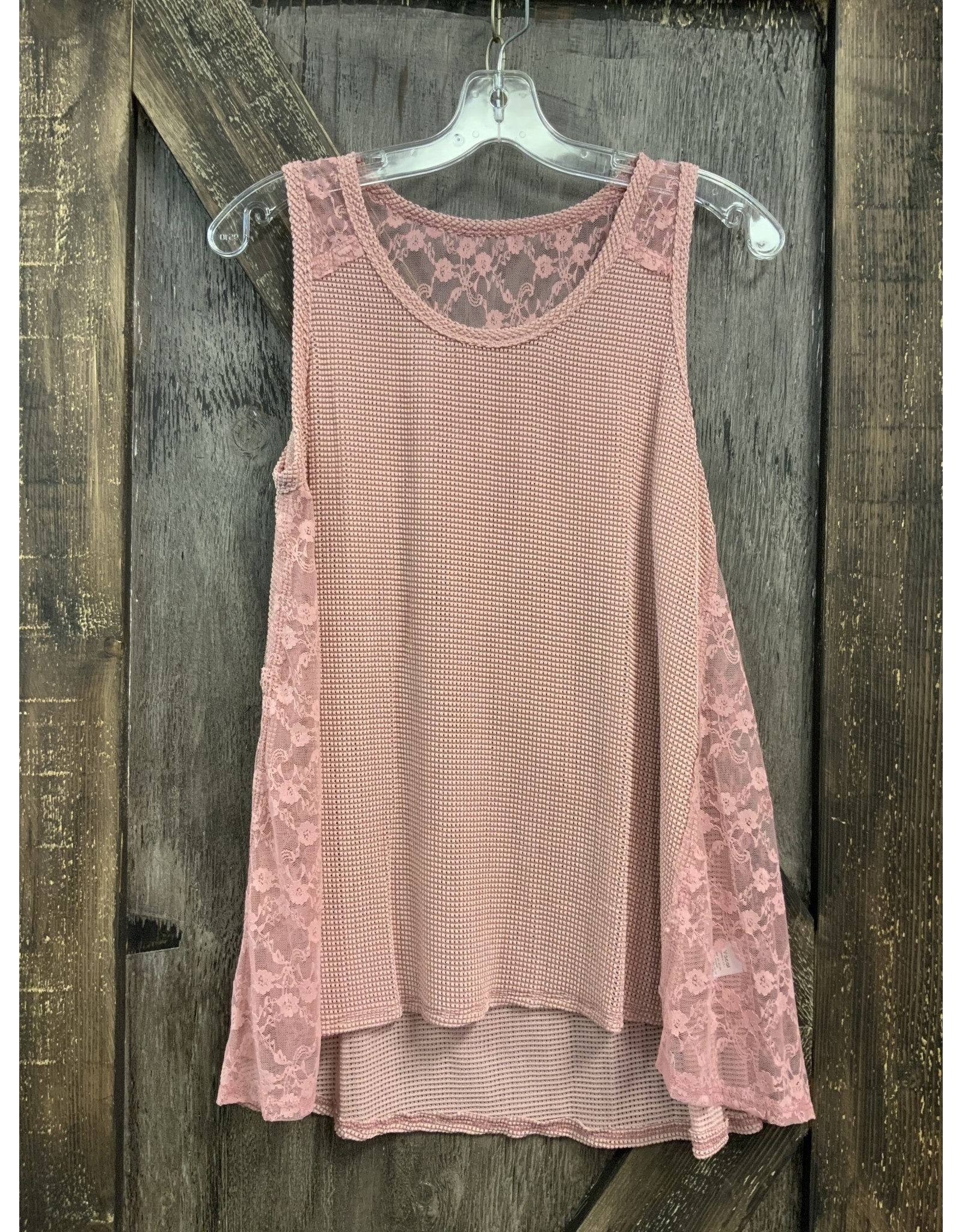 SLEEVELESS MIX MEDIA LACE TUNIC TOP