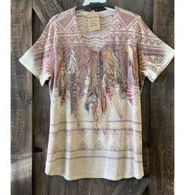 VNECK S/S TEE W/STONE EMBELLISHED FEATHER PRINT