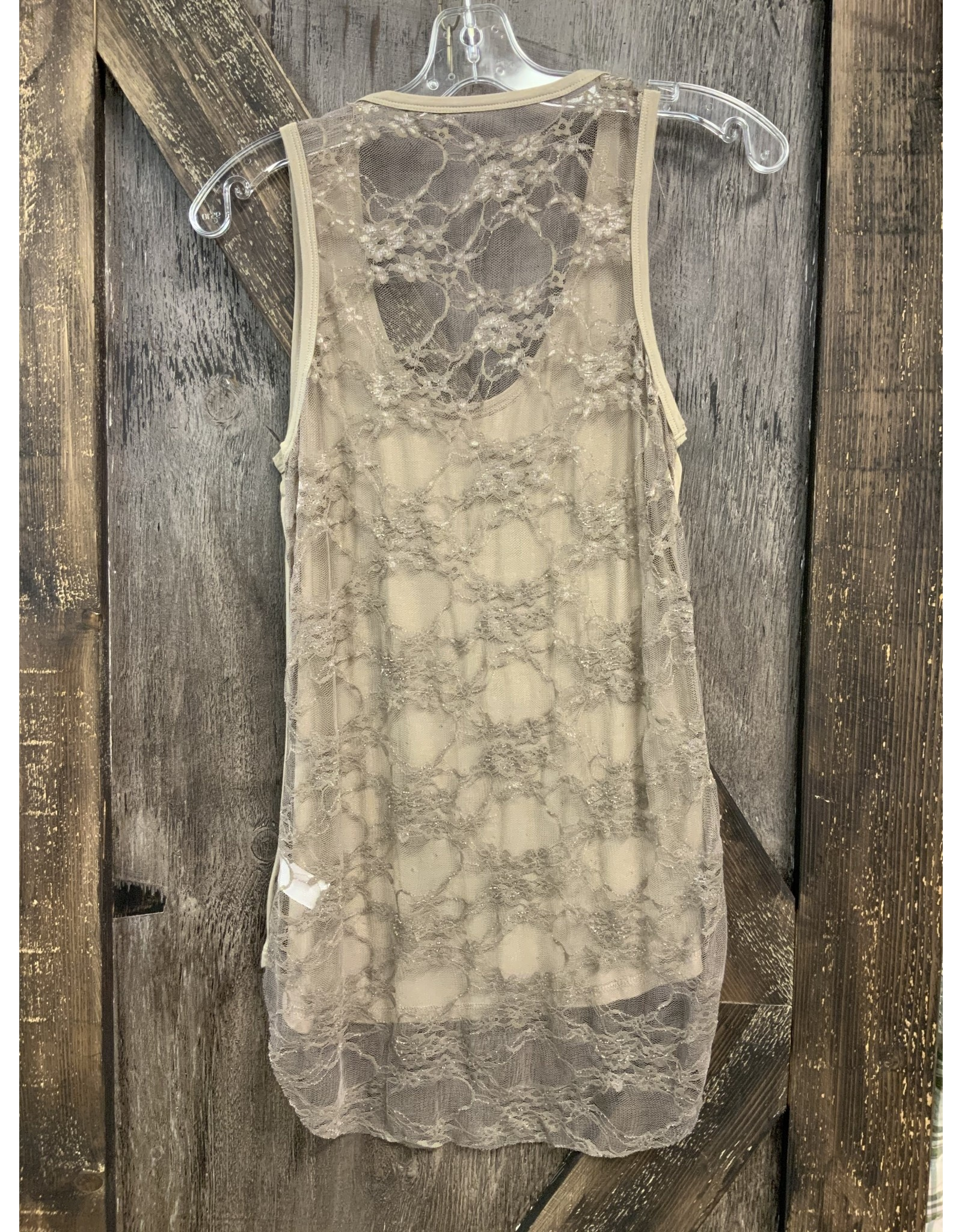 SLEEVELESS TOP W/STONES AND LACE BACK