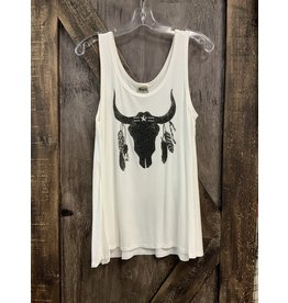 SLEEVELESS ALINE TOP WITH BULL & FEATHERS/STONES