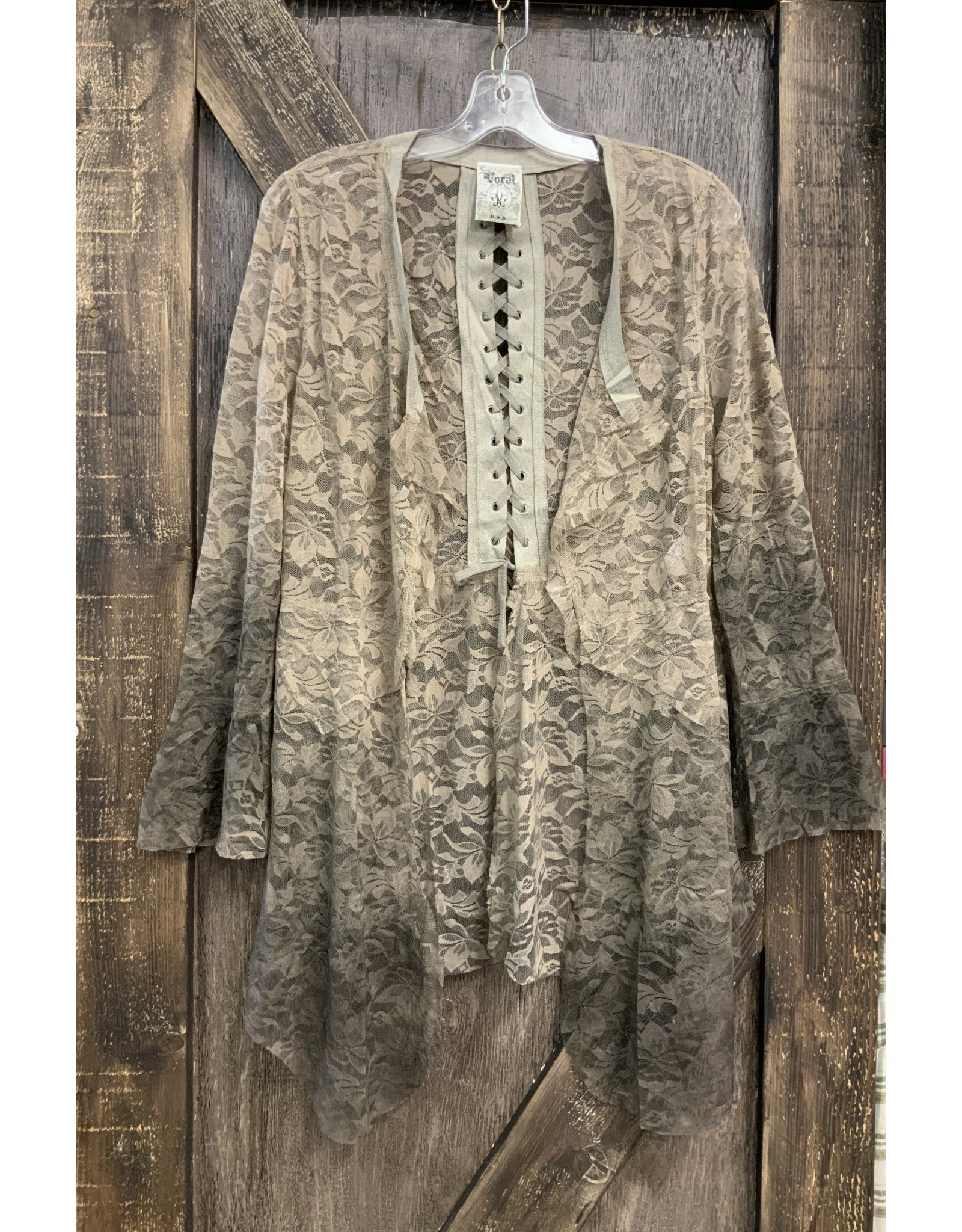 BRUSHED LACE L/S JACKET W/RUFFLE SLEEVES AND LACEUP BACK