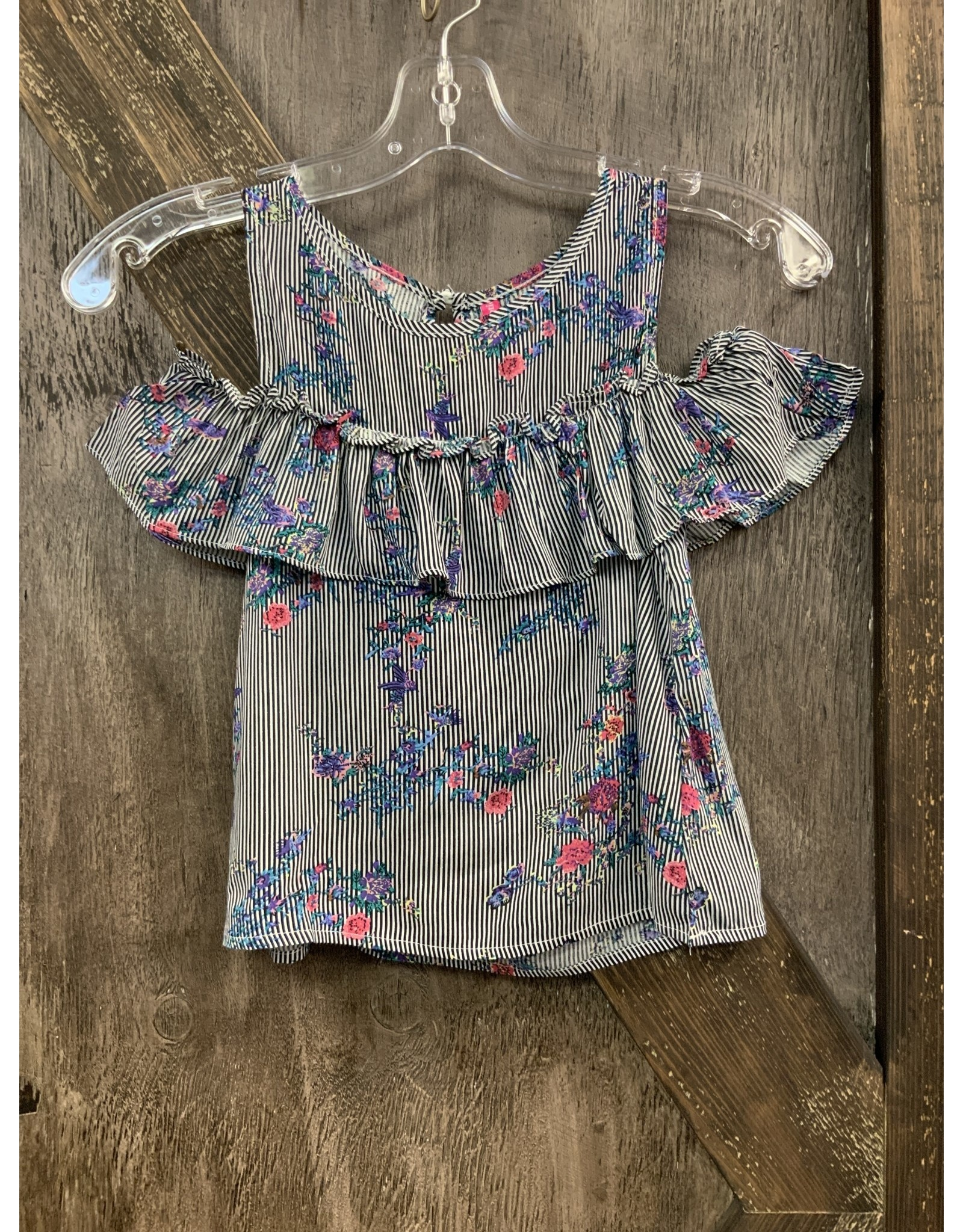 GIRL'S RUFFLE & STRIP FLORAL TOP